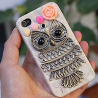 Iphone 4g 4s Case Cover With Antique Brass Owl  by moonboat