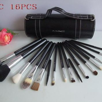 MAC Makeup Sets Brand Brushes Set 16 Pcs Black Professional Cosmetics Brush Kits Make Up Tools