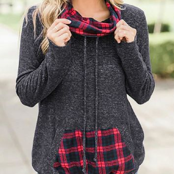 Chic Red Grids Printed Hoodies