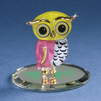 Glass Baron Little Pink and Yellow Owl Figurine