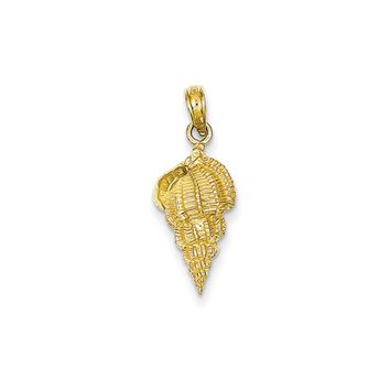 14k Yellow Gold 2D Textured Conch Shell Pendant