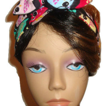 Dolly bow women teen Wired headband tie pinup hair bow colored HOOTIE OWL on black flannel fabric head band BOHO