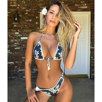 Beach Swimsuit New Arrival Sexy Summer Hot Ladies Swimwear Crochet Print Bikini [510283251766]