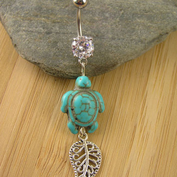 Organic Sea Turtle Belly Ring ~ Prongset Clear CZ Belly Button Navel Ring Turquoise Filligree Leaf Body Piercing Jewelry Beachy Natural Boho