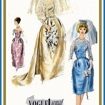1960s Vintage Sewing Pattern Vogue Special Design 4298 Elegant Strapless Bridal Gown w/ Bell Skirt, Detachable Train,and Veil Size 12 Uncut