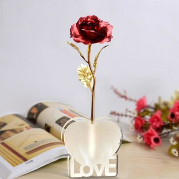 WR Mother Day Gift Decorative Long Stem Red Rose Flower Holiday Ornaments Wedding Gold Foil Rose /w Love Stand & Box 25cm