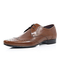 River Island MensBrown leather pointed brogues