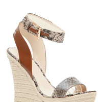 Faux Snake Skin Ankle Strap Espadrille Wedges