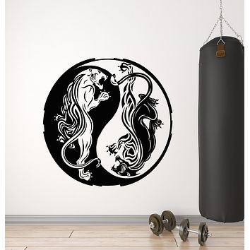 Vinyl Wall Decal Asian Dragon Yin Yang Zen Fantasy Animal Art Stickers Mural (g672)