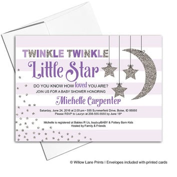 Purple baby shower invitations for girls | twinkle twinkle little star invitation | moon stars stripes | printable or printed - WLP00759