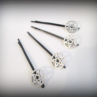 Pentagram Bobby Pin, Silver Pentacle Hair Pin, set of 4 bobby pins, gothic bobby pin