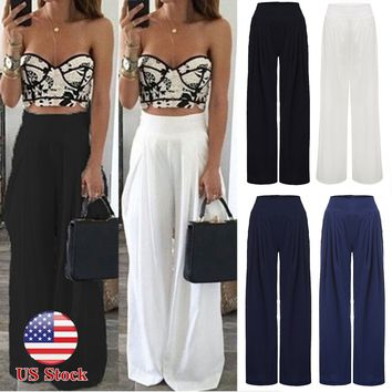 Plus Size Womens Palazzo Wide Leg Flared Pleated Trousers Loose Long Pants S-3XL