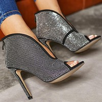 Fashionable back zipper diamond slim heel high-heeled open-toed lady's Suede Sandals