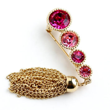 Vintage Pink Rhinestone Tassel Brooch  - Signed Sarah Coventry Gold Tone 1960s Saucy Costume Jewelry Pin / Light & Hot Pinks