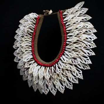Tribal Papua White Sliced Ribbed Shells Necklace Premium Shell Jewel Collar - Seashell Home Decor-Drop Layered Beaded Shells - Red Seed