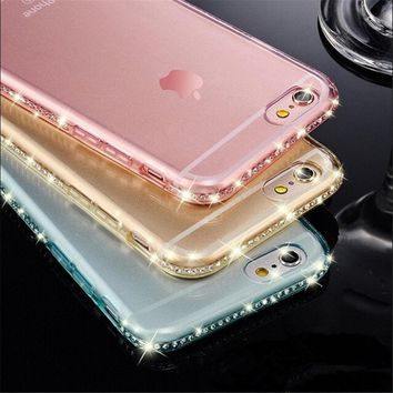 Portefeuille Luxury Crystal Diamond Soft TPU Back Case Cover For Apple iPhone 6 s 6s 7 8 5S iPhone6s Rhinestone Accessories capa