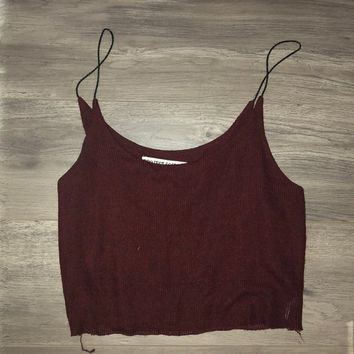 Maroon-colored ribbed Cami top