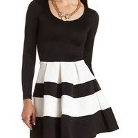Striped Scuba Skater Dress: Charlotte Russe