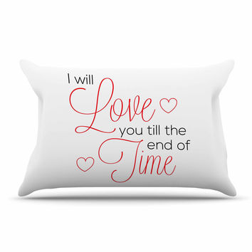 "NL Designs ""I Will Love You"" White Red Pillow Sham"