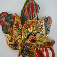 Asian Tribal Mask Hand Painted Wood Carving Colored Gilt Decorated