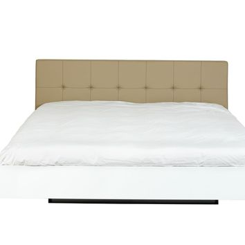 Float Bed - Queen Size W/ Upholstered Headboard + Mattress Support Beige Leather - High Gloss White