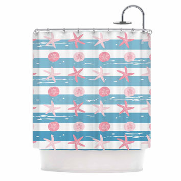 "afe images ""Starfish And Sand Dollar Pattern"" Pink Blue Digital Shower Curtain"