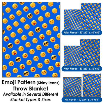 Emoji Pattern (Shiny Icons) Throw Blanket / Tapestry Wall Hanging