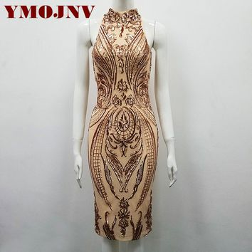 YMOJNV New 2018 Summer Dress Womens Clothing high necked sleeveless sequined dress slim Tight temperament dress eveving party