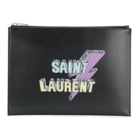 Lightning Bolt Leather Case by Saint Laurent