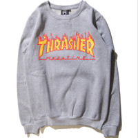 Fall and winter new Thrasher couple flames hedging plus velvet hip-hop sweater men and women Gray
