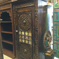 Antique Cabinet Brass Minakari Work Storage Armoire India Furniture