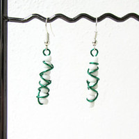 green wire earrings, wire wrapped earrings, day earrings, green and white earrings, lightweight earrings, handmade in the UK
