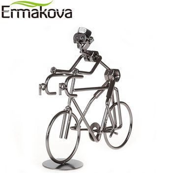 "ERMAKOVA 7.1"" (18cm)Metal Bicycler Sculpture Cyclist Figurine Bicycle Rider Statue Bike Racer Hand Soldering Home Office Decor"