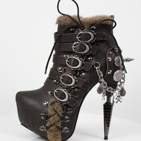 Hades Adler Viking Fur Ankle Boot Brown