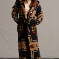 Wool Long Coats for Women, Reversible Long Coat in Harding Black Pendleton ® Fabric