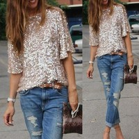 Streetstyle  Casual High Street Sexy sequined oblique loose T-shirt Women t Shirt Summer style