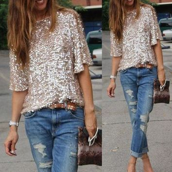 2016 High Street Sexy sequined oblique loose T-shirt Women t Shirt Summer style