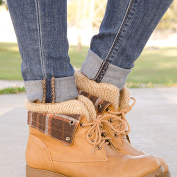 Sweater Knit Cuff Ankle Plaid Round Toe Ankle Boots