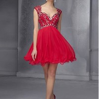 Buy discount Charming Backless Satin & Organza & Tulle V-neck Neckline Short A-line Homecoming Dress at Dressilyme.com