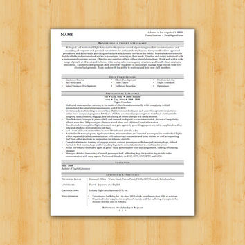 Easy to Edit Flight Attendant Design - Resume Template - Helping YOU Save Time & Get The Dream Job You Deserve - Instant Download