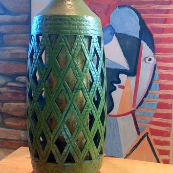 TALL GEOMETRIC LAMP - Mid Century Table Lamp - Modern Ceramic Lamp Base - Olive Green and Wood Mood Lighting Base - True 1960s Vintage Retro