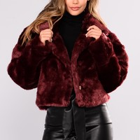 Don't Remind Me Faux Fur Jacket - Burgundy