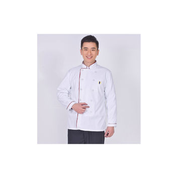Long Sleeve Kitchen Cook Working Uniform Chef Waiter Waitress Coat Jacket White