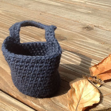 Crochet door knob basket, organizer basket, hanging basket, handle basket, hook basket, blue cotton basket.