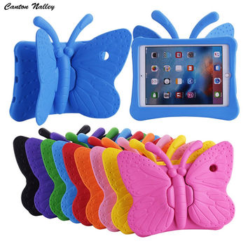 Canton Nalley 3D Butterfly Kids' Case for Apple iPad 2 3 4 9.7 inch EVA Shock Proof Stand Tablet Cover with Handle Kids Friendly