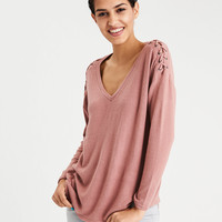 AE SOFT & SEXY LACE UP SHOULDER V NECK, Mauve