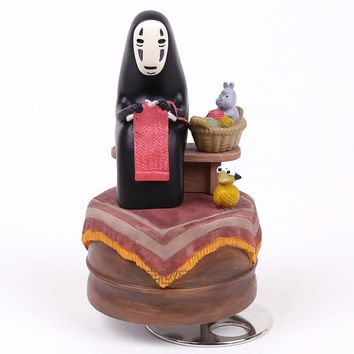 Anime Cartoon Miyazaki Hayao Spirited Away No Face Music Box PVC Action Figure Collection Toy Doll 12cm
