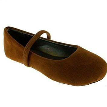 Girls 1001-SU-132 Toddlers Suede Slip On Mary Jane Flat Shoes