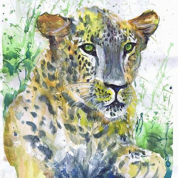 Leopard painting, panther watercolor, cat-o'-mountain, wildcat,  wall decor,  animal art, art print, nursery decor, Illustration, cat art