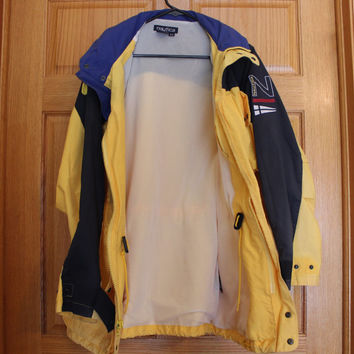 Nautica Mens Sailing  raincoat Jacket blue yellow Medium size